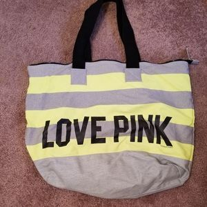 VS PINK tote bag yellow and gray- flaw